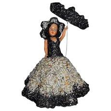 Mid-Century Melted Plastic Popcorn Doll Night Light/Boudoir Lamp