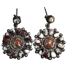 Native American Wild Horse Pierced Earrings With Magnesite Stones Set In Sterling