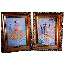 Pair Vintage Framed Flamenco Postcards, Silk Embroidery Costumes, Spain, Signed