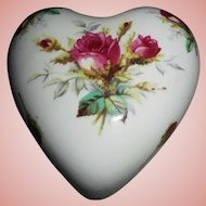 Hammersley Bone China Heart-Shaped Trinket Box, Grandmother's Rose Pattern
