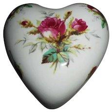 Hammersley Bone China Heart-Shaped Trinket Box, Grandmother's Rose Pattern