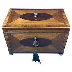18th Century Sheraton Satinwood  Twin Lidded Tea Caddy.