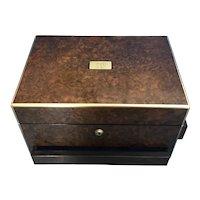 Victorian Burr Walnut Jewellery Box.