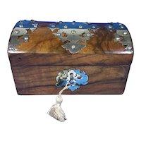 Victorian brassbound Walnut Tea Caddy