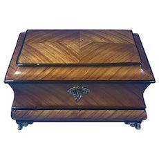 French Miniature Tulipwood Jewellery Casket Box