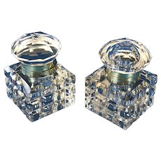 A Superb pair of Victorian cut glass and brass Inkwells, dating back to c.1870.