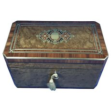 19th century French Burry Holly Tea Caddy With Inlay.