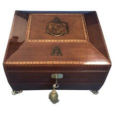 Regency c.1820  boxwood inlaid Mahogany box.