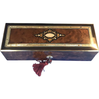 French 19th century Burr cedar glove box,