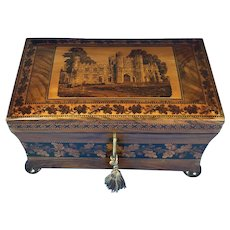 Victorian Walnut Tea Caddy With Tunbridge Ware Inlay.