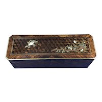 Victorian French Angle cut Tulipwood Glove Box.