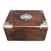 Victorian Brassbound Walnut Cigar Box.