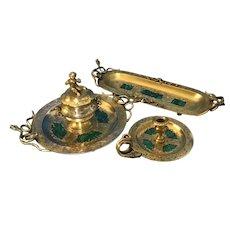 Victorian Gilt Brass Malachite Stationary Desk Set.