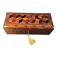 Victorian Burr Holly Glove Box with Tunbridge ware Inlay.