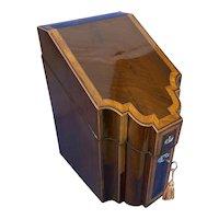 18th Century Mahogany Inlaid Stationary Box.
