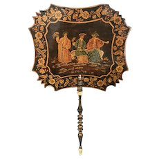 Regency Chinoiserie Penwork Painted Fan.
