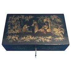 Regency  Penwork Chinoiserie Box.