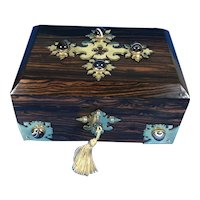 Victorian Brass banded and Agate mounted Coromandel Box,
