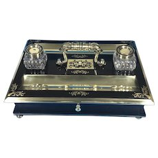 Regency Brass Inlaid Ebony Inkstand .