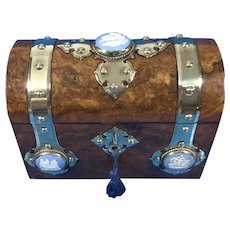 Victorian Burr Walnut Stationary Box With Wedgwood Plaques.