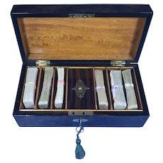 Victorian Burr Walnut Games Box.