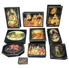 A Collection Of 1980/1990s Russian Papier  Mache  Boxes