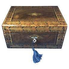 Victorian Inlaid Walnut Tunbridge Ware Jewellery Box.