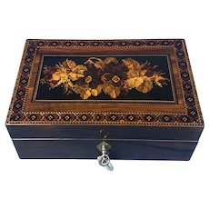A Miniature Victorian Micro Mosaic Tunbridge Ware Inlaid Walnut Jewellery Box.