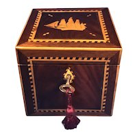 Victorian Mahogany Tea Caddy, inlaid with a ship to the top of the lid.