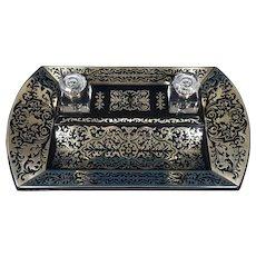 A Spectacular Brass Inlaid Ebony InkStand.