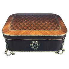Victorian French Tulipwood Box with Rosewood and Kingwood Inlay.
