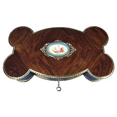 Victorian French Shaped Tulipwood Box With Porcelain Panel To The Top.