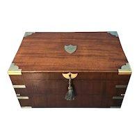 19th Century Superb French brassbound mahogany writing box