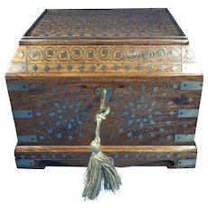 1920s Indian Brass Inlaid Teak Box.
