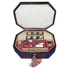 Regency Morocco leather Sewing Box. A Remarkable Octagonal Red Morocco  leather sewing box