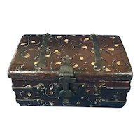17th century Style painted And Bound with Iron Ink Box.