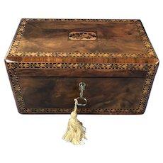 Victorian Tunbridge Ware Inlaid Walnut Stationary Box.