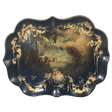 Victorian hand painted papier-mâché tray.