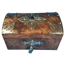 Victorian Brassbound Burr walnut Tea caddy.