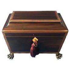 Regency Black Walnut Sarcophagus Twin Section Tea caddy.