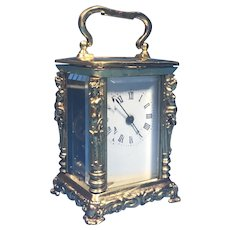 Victorian Miniature Brass Carriage Clock.