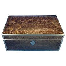 Victorian Brassbound Unusual Burr Box.