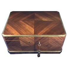 19th century French angle cut Tulipwood jewellery box.