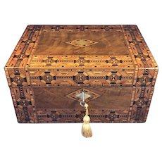 Victorian Walnut Tunbridge ware Inlaid Jewellery Box.