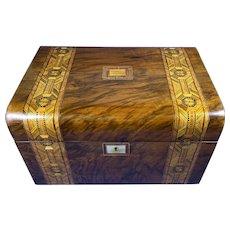 Victorian Walnut Jewellery Box With Tunbridge Ware Inlay.
