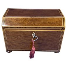 Georgian Partridge wood Canted Top Tea caddy With Inlay.