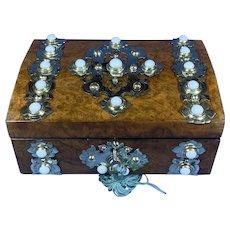 Victorian Brassbound Burr Walnut Box.