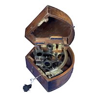 Victorian Brass Sextant In It's Original Mahogany Box.