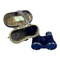 Victorian Brass Binoculars With Original leather Case.