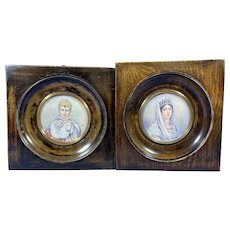 A pair of 1920s Painted Miniatures Of Emperor Napoleon & Josephine.